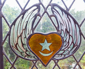 Heart and Wings Symbol in Glass